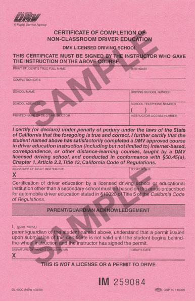 CA DMV Driver's Ed Certificate